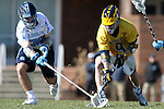 06 February 2016: North Carolina's Evan Connell (left) and Michigan's Dan Kinek (right). The University of North Carolina Tar Heels hosted the University of Michigan Wolverines in a 2016 NCAA Division I Men's Lacrosse match. UNC won the game 20-10.