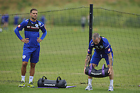 Shaun Derry and Luke Young of QPR in training