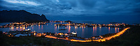 Panoramic view of the village of Reine at dusk, Moskenesøy, Lofoten Islands, Norway