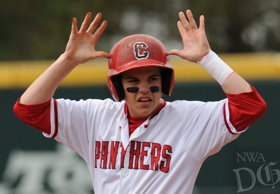 NWA Democrat-Gazette/ANDY SHUPE<br /> Cabot's Dillon Thomas celebrates Friday, May 19, 2017, after hitting an RBI double against Springdale Har-Ber during the Class 7A state championship game at Baum Stadium in Fayetteville. Visit nwadg.com/photos to see more photographs from the game.