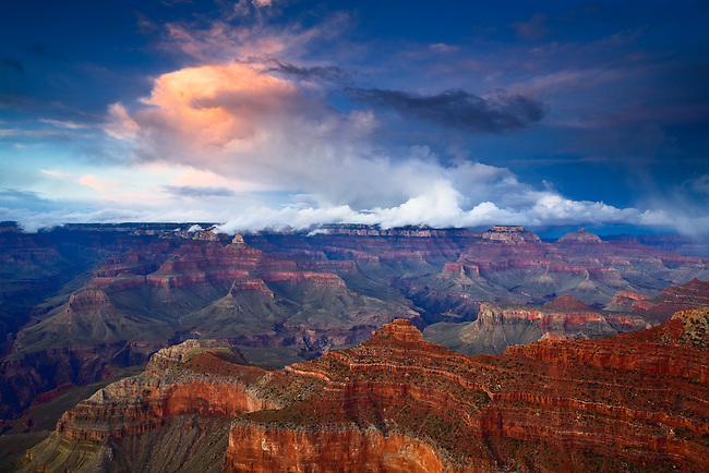 The clouds light up a few minutes after sunset over the Grand Canyon as viewed from the South Rim.