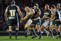 Dan Cole of Leicester Tigers is tackled by Tom Ellis of Bath Rugby. Aviva Premiership match, between Leicester Tigers and Bath Rugby on November 29, 2015 at Welford Road in Leicester, England. Photo by: Patrick Khachfe / Onside Images