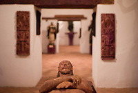 Statuary carved by Guarani Indians sits on display in a museum at San Ignacio Guazu, Paraguay, the site of the oldest of scores of Jesuit missions in the area where Paraguay, Argentina and Brazil meet. The missions were built in the 17th century and abandoned when the Jesuits were expelled in the 18th century. Ruins of some of these missions still haunt hilltops in the region. (Kevin Moloney for the New York Times)