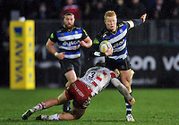 Tom Homer of Bath Rugby is tackled by Bill Meakes of Gloucester Rugby. Aviva Premiership match, between Bath Rugby and Gloucester Rugby on February 5, 2016 at the Recreation Ground in Bath, England. Photo by: Patrick Khachfe / Onside Images