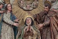 Detail of Portrait of St Teresa, Retable of main Altar, Convento de Santa Teresa,(Convent of St Teresa), 1629-36, Avila, Spain, built in Baroque style on the site of St Teresa's birthplace by architect and monk Alonso de san Jose (1600-54). Santa Teresa (1515-82), was a Carmelite nun, canonized 1622. Photograph by Manuel Cohen.