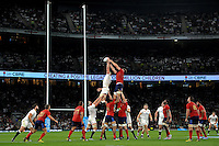 George Kruis of England competes with Alexandre Flanquart of France for the ball at a lineout. QBE International match between England and France on August 15, 2015 at Twickenham Stadium in London, England. Photo by: Patrick Khachfe / Onside Images