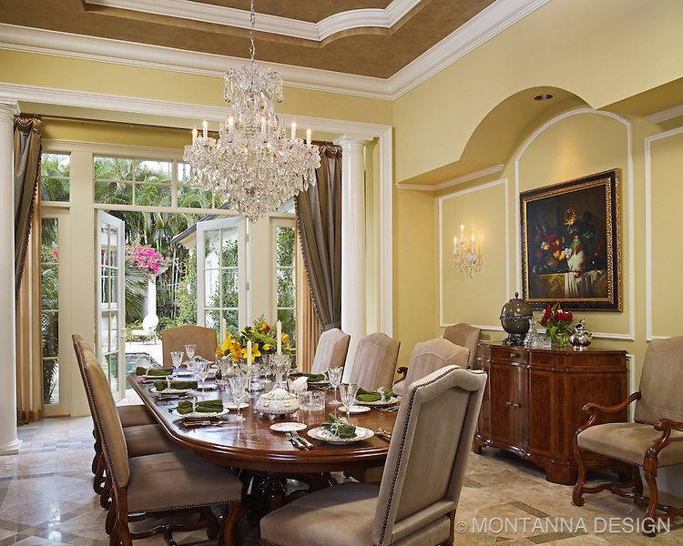 Dining room crystal chandelier:Dining Room With Waterford Crystal ChandelierMontanna,Lighting