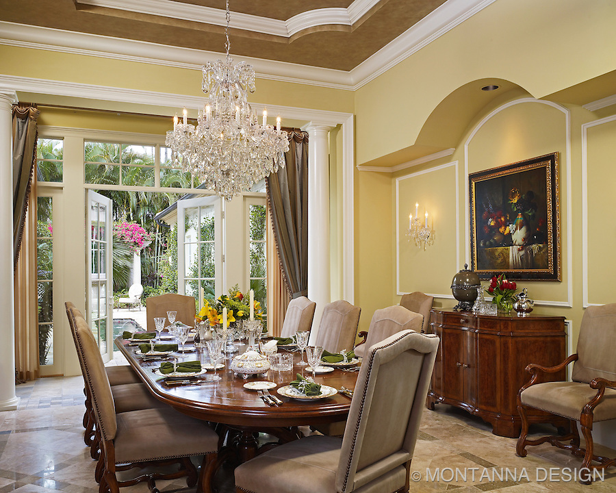 dining room with waterford crystal chandelier montanna associates