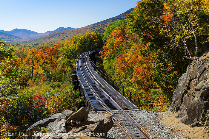 Crawford Notch State Park - Frankenstein Trestle along the old Maine Central Railroad in the Hart's Location, New Hampshire USA during the autumn months. Since 1995 the Conway Scenic Railroad, which provides passenger excursion trains has been using the track.