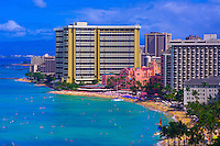 Overview of Waikiki Beach (Royal Hawaiian Hotel and Sheraton Waikiki in back), Honolulu, Oahu, Hawaii, USA