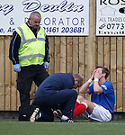 David Templeton in agony after going over on his ankle and doing his ligaments on the plastic park
