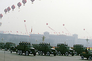 Beijing, China. October 1st, 1984. This huge parade is for the celebration of the 35th Anniversary of the Chinesse Revolution. China is well known for its mechanic forces.