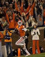 The eighth ranked Clemson Tigers defeat the Georgia Tech Yellow Jackets at Death Valley 55-31 in an ACC matchup.  Clemson Tigers wide receiver Martavis Bryant (1) scores a 3rd quarter touchdown