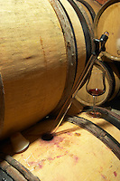 Domaine de Montcalmes in Puechabon. Terrasses de Larzac. Languedoc. Barrel cellar. Drawing a sample with a pipette. France. Europe.
