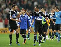 FUSSBALL   1. BUNDESLIGA  SAISON 2011/2012   7. Spieltag     23.09.2011 VfB Stuttgart - Hamburger SV SCHLUSSJUBEL Hamburger SV;  Dennis Aogo unf Heiko Westermann