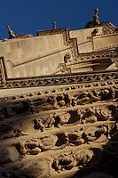 Archivolts, central portal, trumeau, gargoyles, facade, Church of Notre Dame, 12th - 14th century, Mantes-la-Jolie, Yvelines, France Picture by Manuel Cohen