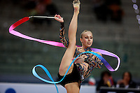 Inna Zhukova of Belarus turns pirouette with ribbon during All Around final at  2008 European Championships at Torino, Italy on June 6, 2008.  Photo by Tom Theobald.