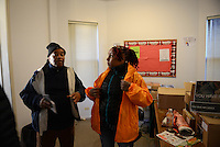 "Supervisor Ulysses ""US"" Floyd, an ex-high level Gangster Disciple, and violence interrupter Jerusha ""Rue"" Hodge, 42, with Cease Fire, a public health initiative that attempts to halt or stop gun violence across the city, before setting out to canvass and meet with at risk youth participants in their office on the far South Side of Chicago, Illinois on February 3, 2017."