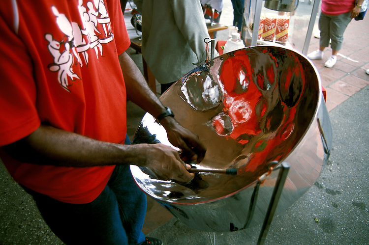 Barbados: Music, Steel Drums.   Photo barbad104.Photo copyright Lee Foster, 510/549-2202, lee@fostertravel.com, www.fostertravel.com