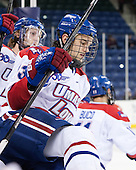 Adam Chapie (UML - 13) - The University of Massachusetts Lowell River Hawks defeated the visiting American International College Yellow Jackets 6-1 on Tuesday, December 3, 2013, at Tsongas Arena in Lowell, Massachusetts.