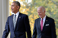 United States President Barack Obama (L) walks out of the Oval Office with Vice President Joe Biden to make remarks on Republican President-elect Donald J. Trump's presidential victory over Former Secretary of State Hillary Clinton, at the White House, November 9, 2016, in Washington, DC. Obama invited Trump to visit the White House and promised a smooth transition.   <br /> Credit: Mike Theiler / Pool via CNP /MediaPunch