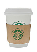 Cup of Starbucks Coffee with Protective Sleeve and showing new logo - Oct 2011