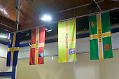 Flags hanging in the hall of a Roman Catholic school.  Roman Catholic State secondary school.
