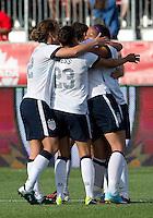 02 June 2013:  The U.S. Women's National Team celebrates a goal by U.S .Women's National Team player Sydney Leroux #2  during an international friendly soccer match between the U.S Women's National Team and the Canadian Women's National Team at BMO Field in Toronto, Ontario Canada.<br /> The U.S. National Women's Team won 3-0.
