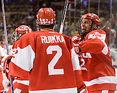 Ryan Ruikka (BU - 2), Ross Gaudet (BU - 22) - The Boston College Eagles defeated the Boston University Terriers 3-2 (OT) in their Beanpot opener on Monday, February 7, 2011, at TD Garden in Boston, Massachusetts.