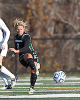 Wilmington University forward Jenna Quaranta (3) passes the ball. . In 2012 NCAA Division II Women's Soccer Championship Tournament First Round, College of St Rose (white) defeated Wilmington University (black), 3-0, on Ronald J. Abdow Field at American International College on November 9, 2012.