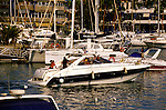 Speed boat entering  Puerto Colon harbour,Tenerife, Canary Islands, Spain
