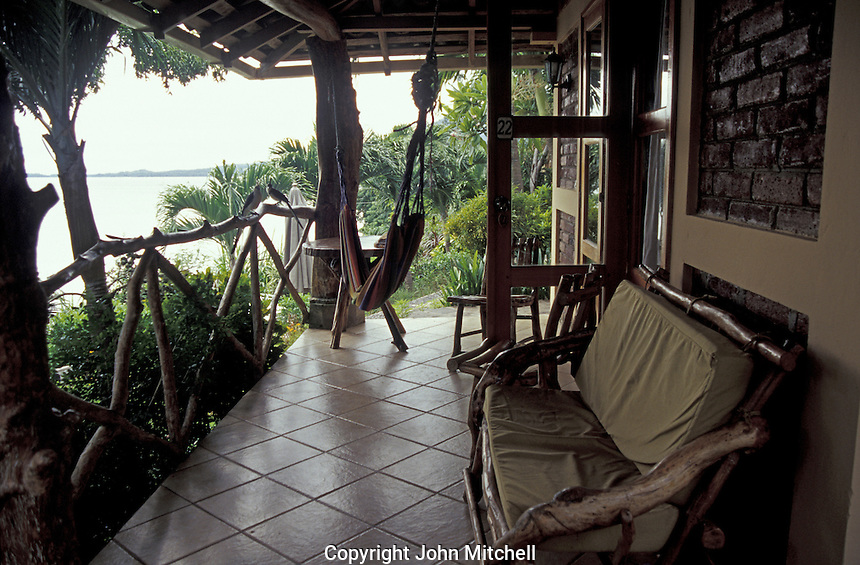 Veranda of Hotel Villa Paraiso on Isla de Ometepe, Nicaragua. This is the best hotel on the island of Ometepe.