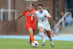 17 October 2013: North Carolina's Summer Green (6) and Syracuse's Alexis Koval (17). The University of North Carolina Tar Heels hosted the Syracuse University Orangemen at Fetzer Field in Chapel Hill, NC in a 2013 NCAA Division I Women's Soccer match. UNC won the game 1-0.
