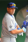 5 September 2011: Los Angeles Dodgers outfielder Juan Rivera awaits the start of play in the dugout prior to a game against the Washington Nationals at Nationals Park in Los Angeles, District of Columbia. The Nationals defeated the Dodgers 7-2 in the first game of their 4-game series. Mandatory Credit: Ed Wolfstein Photo
