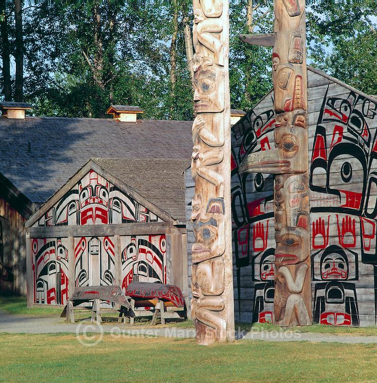 Ksan Historical Village and Museum in Hazelton, Northern BC, British Columbia, Canada - Replicated Gitxsan (Gitksan aka Tsimshian) First Nations Native Indian Village, Totem Poles and Tribal Plank Houses