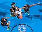 Mar 31, 2014; Jewel Loyd (32) goes up for a shot as Baylor Bears center Kristina Higgins (44) guard Ieshia Small (24) and center Khadijiah Cave (55) defend in the regional final of the 2014 NCAA Tournament. Notre Dame won 88-69. <br /> <br /> Photo by Matt Cashore