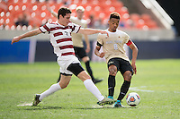 Houston, TX -  Sunday, December 11, 2016: Foster Langsford (2) of the Stanford Cardinal and Jacori Hayes (8) of the Wake Forest Demon Deacons battle for the ball in the first half of the  NCAA Men's Soccer Finals at BBVA Compass Stadium.