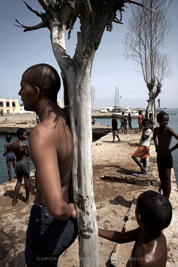 Locals relax at an ocean swimming pool in the coastal town of Massawa, Eritrea. .