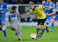 FUSSBALL   1. BUNDESLIGA   SAISON 2012/2013   17. SPIELTAG   TSG 1899 Hoffenheim - Borussia Dortmund      16.12.2012           Marco Reuss (re, Borussia Dortmund) gegen Torwart Koen Casteels (TSG 1899 Hoffenheim)