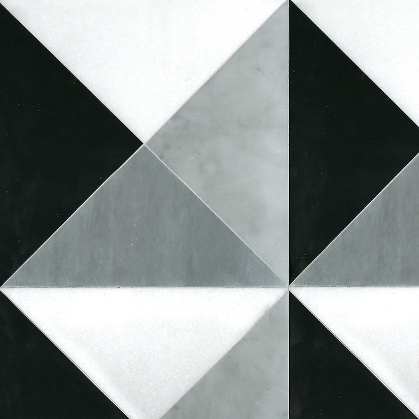 Christopher 3, a handmade mosaic shown in honed Nero Marquina, Thassos, Carrara, and Bardiglio, is part of the Illusions™ Collection by Sara Baldwin Designs for New Ravenna.