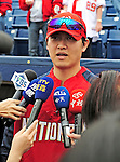 9 March 2010: Washington Nationals' pitcher Chien-Ming Wang is interviewed by the Japanese media prior to a Spring Training game against the Detroit Tigers at Space Coast Stadium in Viera, Florida. The Tigers defeated the Nationals 9-4 in Grapefruit League action. Mandatory Credit: Ed Wolfstein Photo