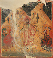 Fresco, possibly of Christ appearing to the apostles after the resurrection, 1578, by Nikolla Onufri, son of Onufri, in the 13th century Church of St Mary of Blachernae or Kisha e Shen Meri Vllahernes inside Berat Castle or Kalaja e Beratit, in Berat, South-Central Albania, capital of the District of Berat and the County of Berat. Picture by Manuel Cohen