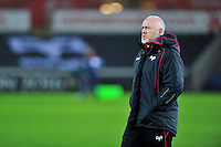 Ospreys Head Coach Steve Tandy looks on during the pre-match warm-up. European Rugby Champions Cup match, between the Ospreys and Bordeaux Begles on December 12, 2015 at the Liberty Stadium in Swansea, Wales. Photo by: Patrick Khachfe / JMP