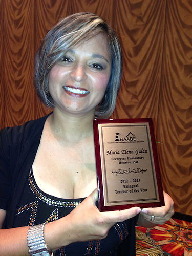 Scroggins Elementary's Maria Elena Galan, the 2013 HAABE Bilingual Teacher of the Year