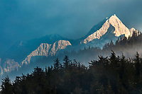 Misty morning fog over Mount Gilbert, Chugach mountains, Chugach National Forest, Ester Passage, Prince William Sound, southcentral, Alaska.