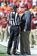 College Park, MD - October 15, 2016: Minnesota Golden Gophers head coach Tracy Claeys talks to the referee during game between Minnesota and Maryland at  Capital One Field at Maryland Stadium in College Park, MD.  (Photo by Elliott Brown/Media Images International)