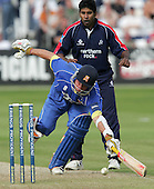 Chaminda Vaas of Middlesex looks on as Mark Pettini is inches from being run out - Essex Eagles vs Middlesex Crusaders - Friends Provident Trophy at Ford County Ground, Chelmsford - 20/05/07 - MANDATORY CREDIT:  Gavin Ellis / TGSPHOTO - IMAGES USED WILL BE INVOICED AT STANDARD RATES