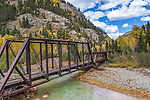 Abandoned railroad bridge over the Animas River, on the Durango and Silverton Narrow Gauge Railroad.