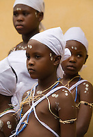 Young girls from the Krobo tribal group are dressed up in white as they undergo puberty rites - locally called dipo - in Somanya, Eastern Region, Ghana.