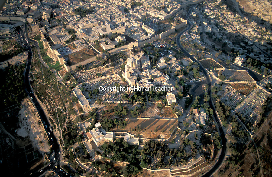Israel, Jerusalem, an aerial view of Mount Zion